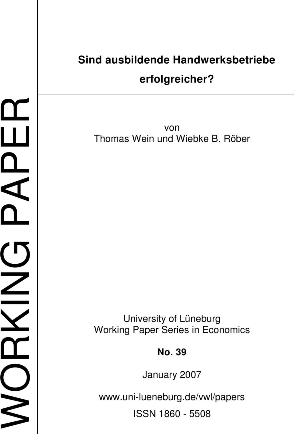 Röber University of Lüneburg Working Paper Series in