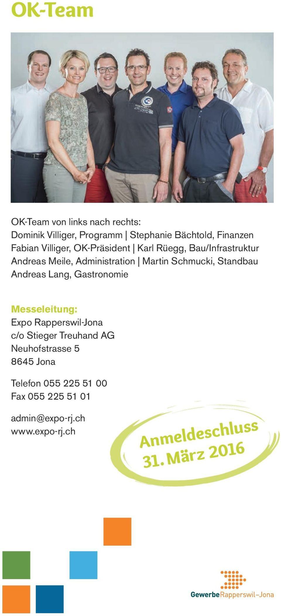 Standbau Andreas Lang, Gastronomie Messeleitung: Expo Rapperswil-Jona c/o Stieger Treuhand AG