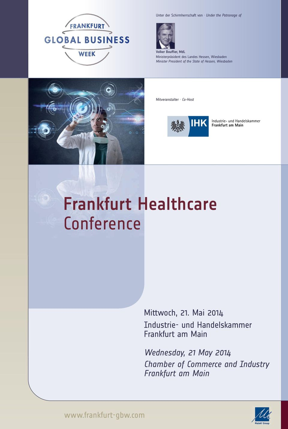 Co-Host Frankfurt Healthcare Conference Mittwoch, 21.