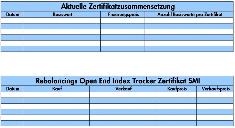 Zertifikat Rebalancings Open End Index Tracker