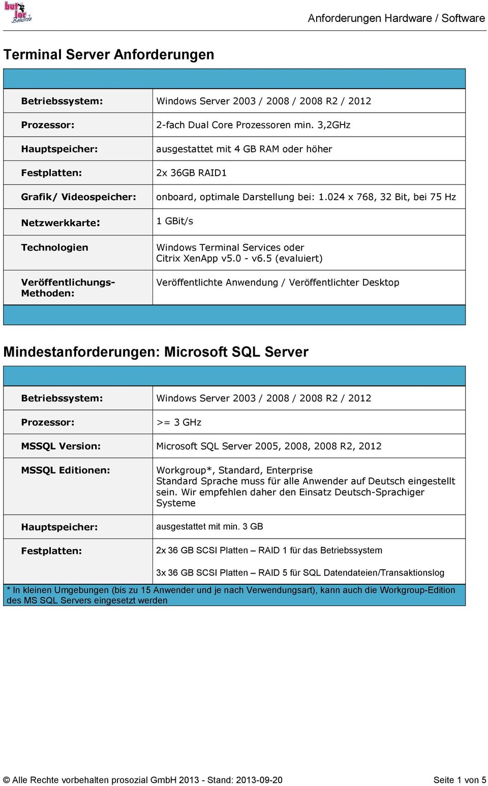 5 (evaluiert) Veröffentlichte Anwendung / Veröffentlichter Desktop Mindestanforderungen: Microsoft SQL Server Betriebssystem: Windows Server 2003 / 2008 / 2008 R2 / 2012 >= 3 GHz MSSQL Version: