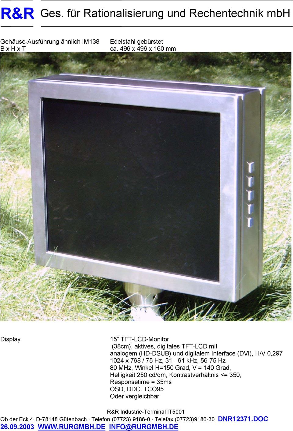 (HD-DSUB) und digitalem Interface (DVI), H/V 0,297 1024 x 768 / 75 Hz, 31-61 khz, 56-75 Hz 80 MHz,