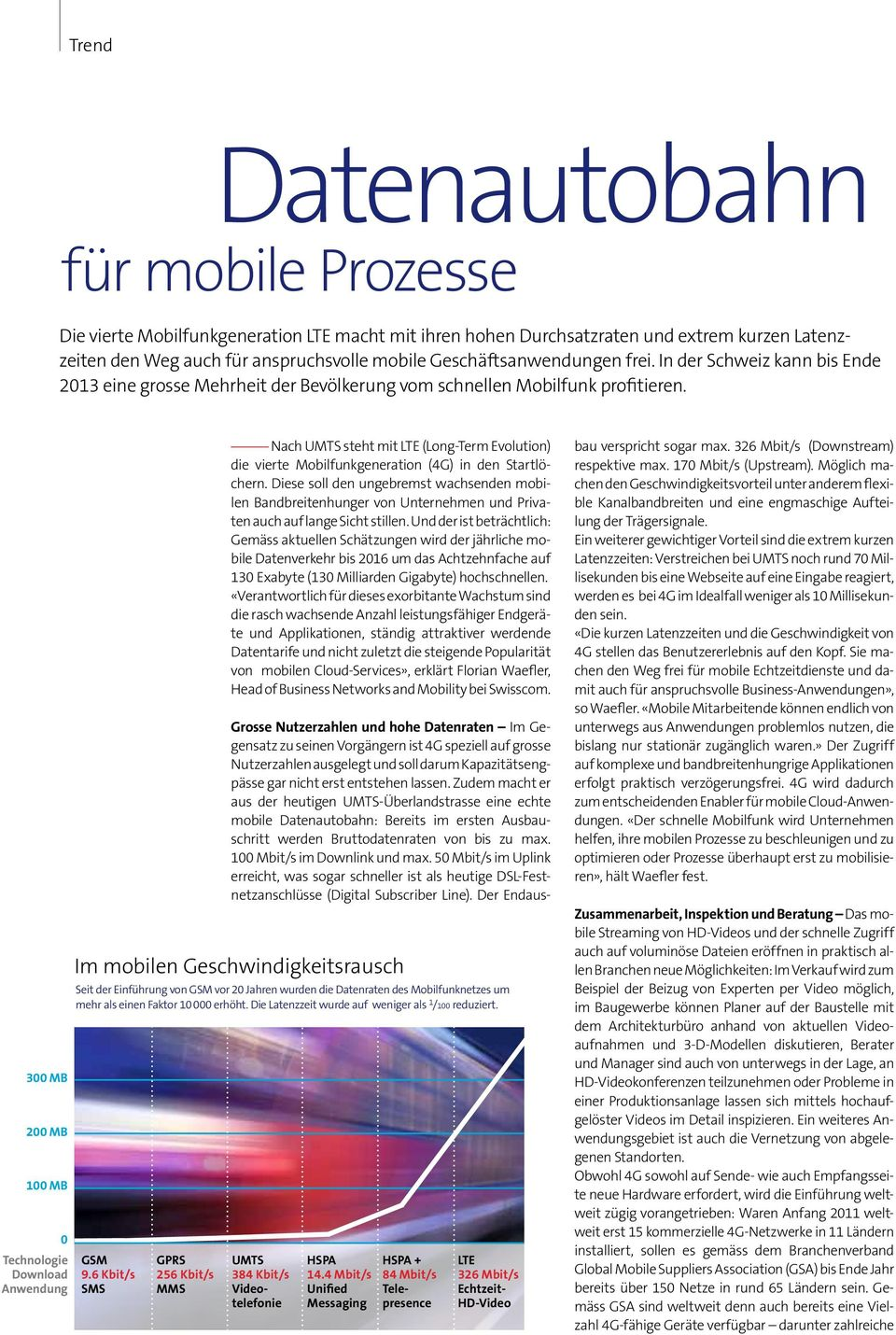 300 MB 200 MB 100 MB 0 Technologie Download Anwendung Nach UMTS steht mit LTE (Long-Term Evolution) die vierte Mobilfunkgeneration (4G) in den Startlöchern.