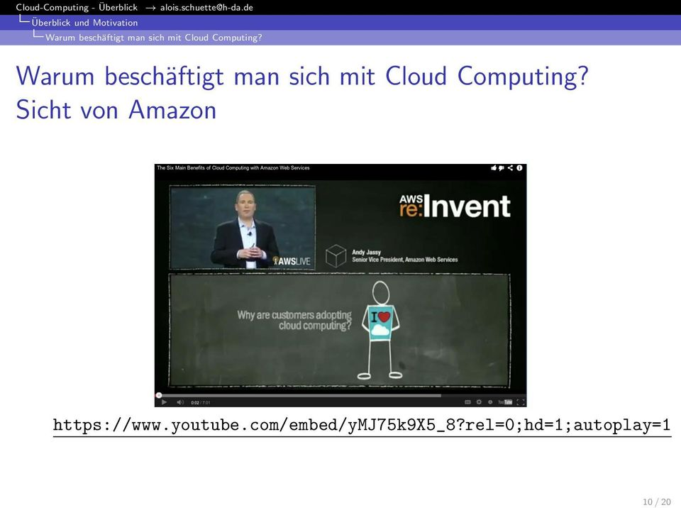 Sicht von Amazon https://www.youtube.