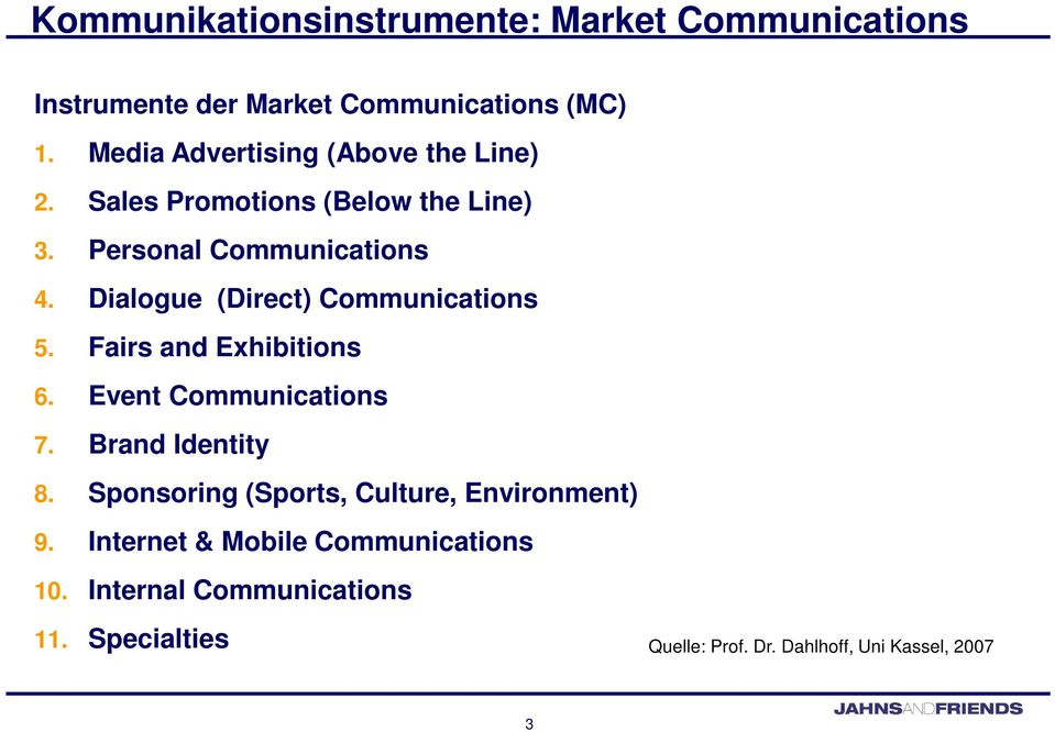 Dialogue (Direct) Communications 5. Fairs and Exhibitions 6. Event Communications 7. Brand Identity 8.