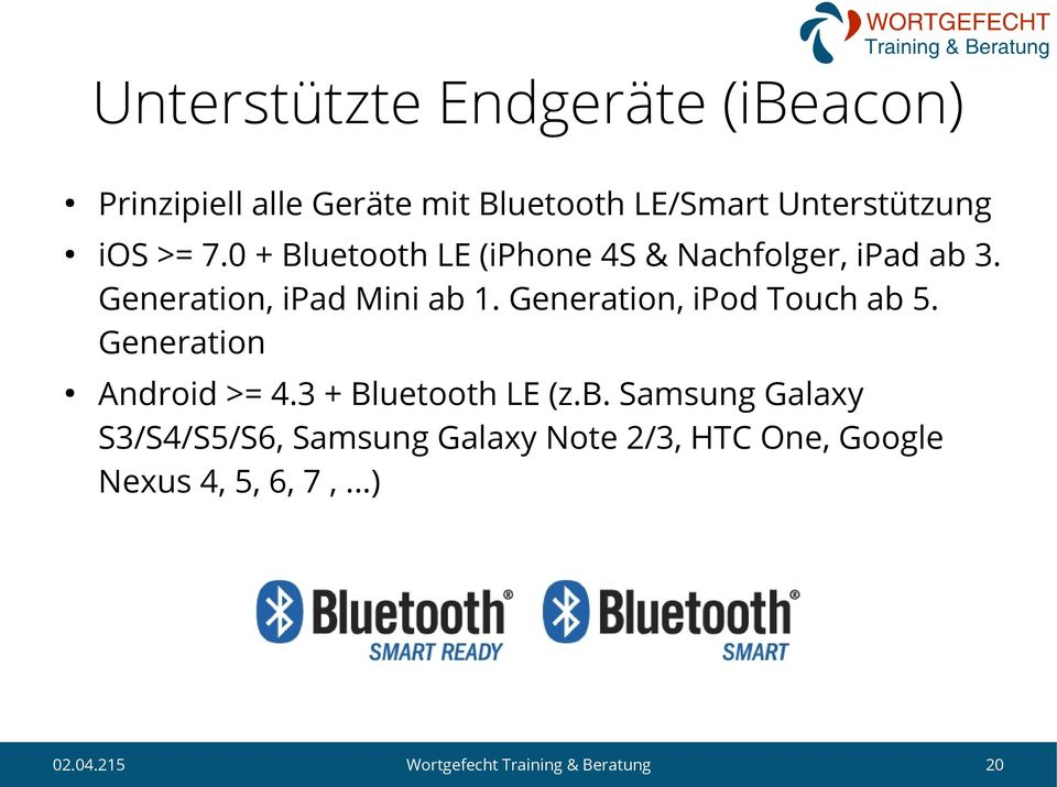 Generation, ipad Mini ab 1. Generation, ipod Touch ab 5. Generation Android >= 4.