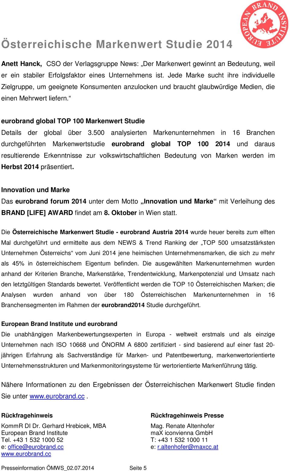 eurobrand global TOP 100 Markenwert Studie Details der global über 3.