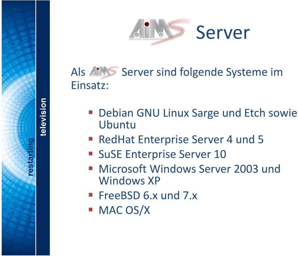 Enterprise Server 4 und 5 SuSE Enterprise Server 10