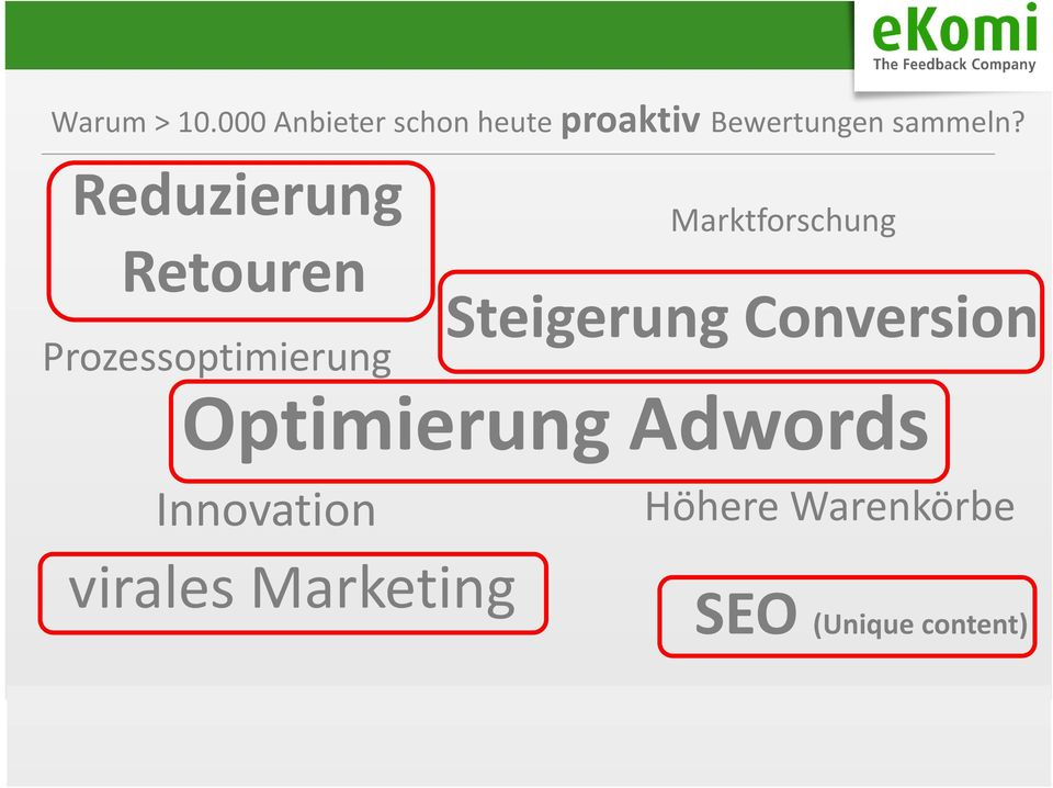 Conversion Optimierung Adwords Innovation virales Marketing Höhere