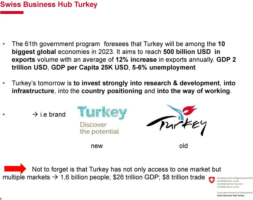 GDP 2 trillion USD, GDP per Capita 25K USD, 5-6% unemployment Turkey s tomorrow is to invest strongly into research & development, into