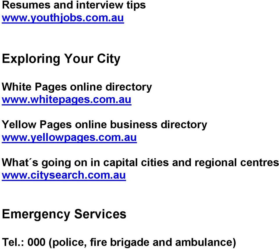 au Yellow Pages online business directory www.yellowpages.com.