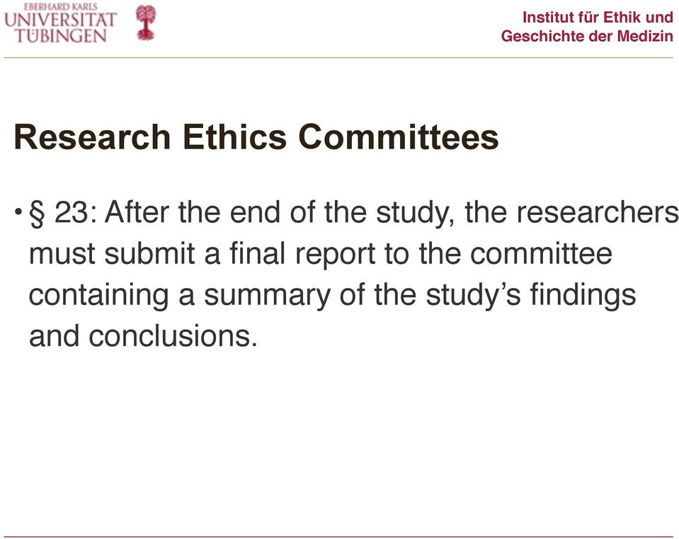 final report to the committee containing a