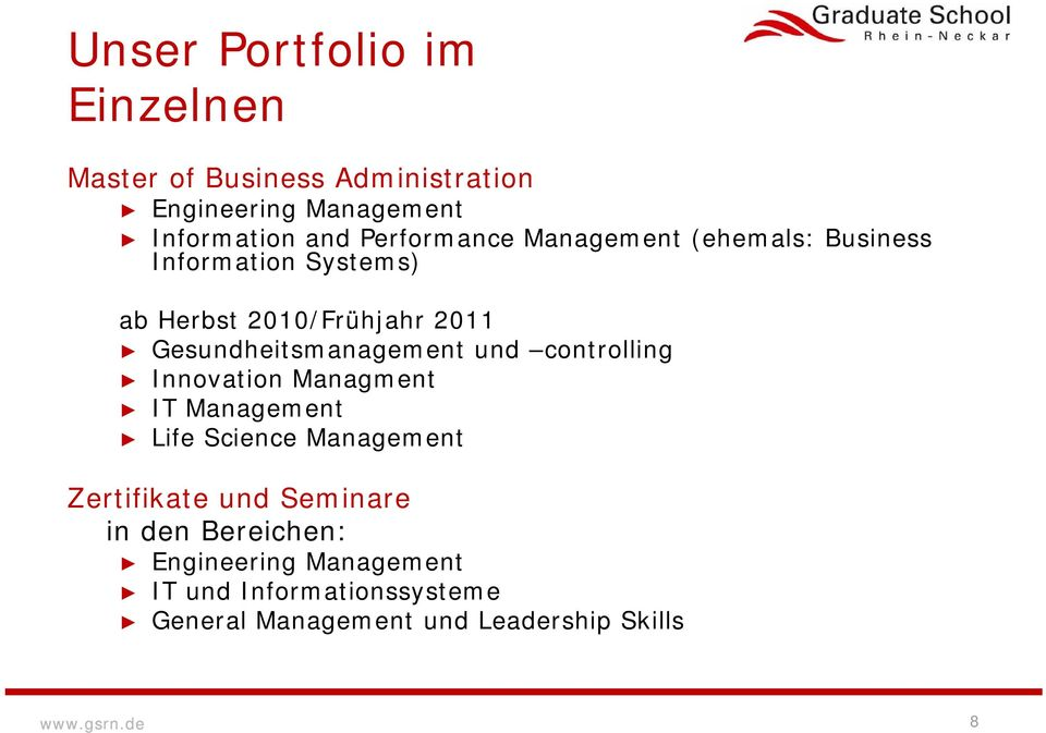 Gesundheitsmanagement und controlling Innovation Managment IT Life Science Zertifikate