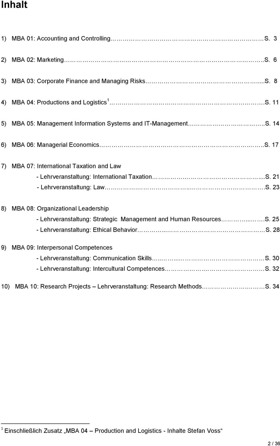 ...S. 25 - Lehrveranstaltung: Ethical Behavior... S. 28 9) MBA 09: Interpersonal Competences - Lehrveranstaltung: Communication Skills..... S. 30 - Lehrveranstaltung: Intercultural Competences. S. 32 10) MBA 10: Research Projects Lehrveranstaltung: Research Methods.
