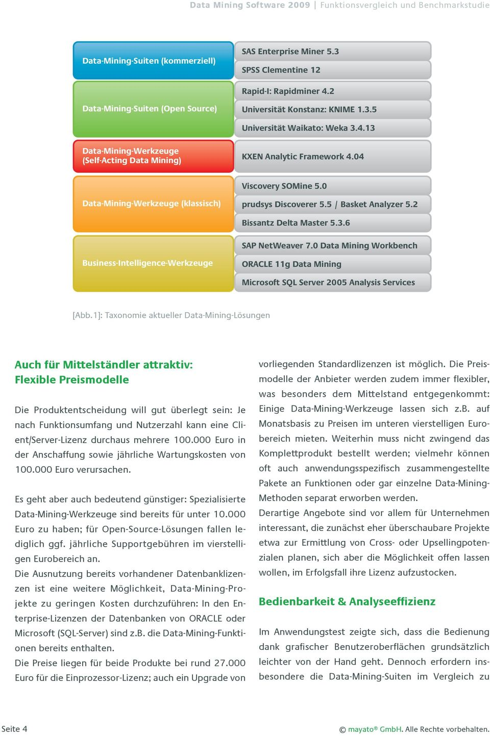 0 Data Mining Workbench Business-Intelligence-Werkzeuge ORACLE 11g Data Mining Microsoft SQL Server 2005 Analysis Services [Abb.