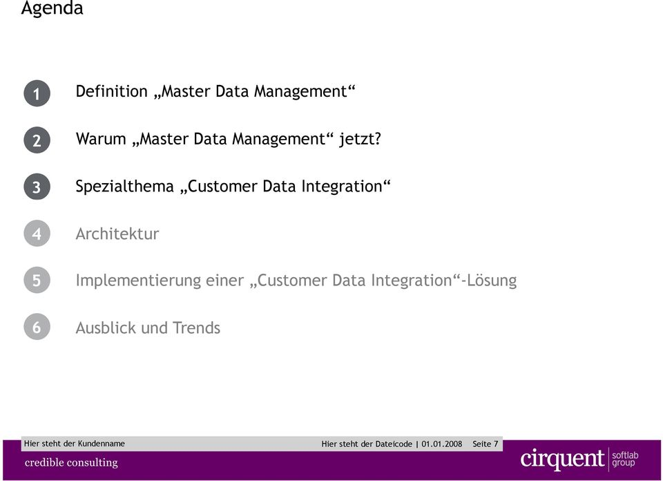 Spezialthema Customer Data Integration 4 5 Architektur Implementierung