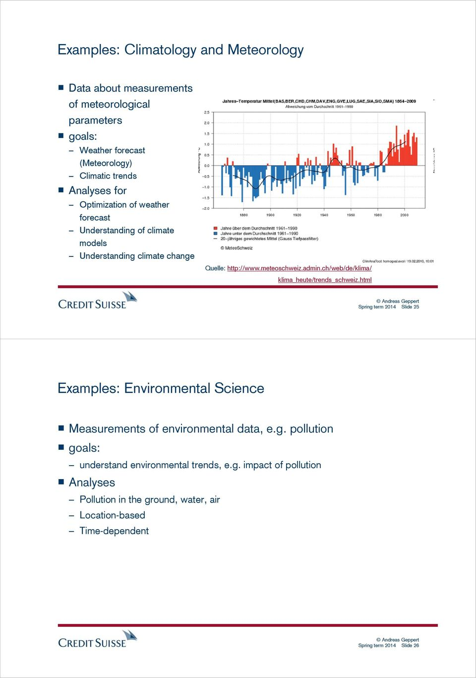ch/web/de/klima/ klima_heute/trends_schweiz.html Spring term 2014 Slide 25 Examples: Environmental Science Measurements of environmental data, e.g. pollution goals: understand environmental trends, e.