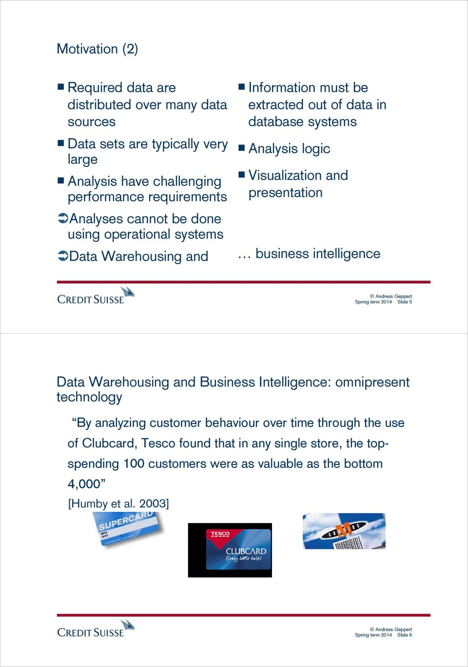 presentation business intelligence Spring term 2014 Slide 5 Data Warehousing and Business Intelligence: omnipresent technology By analyzing customer behaviour over