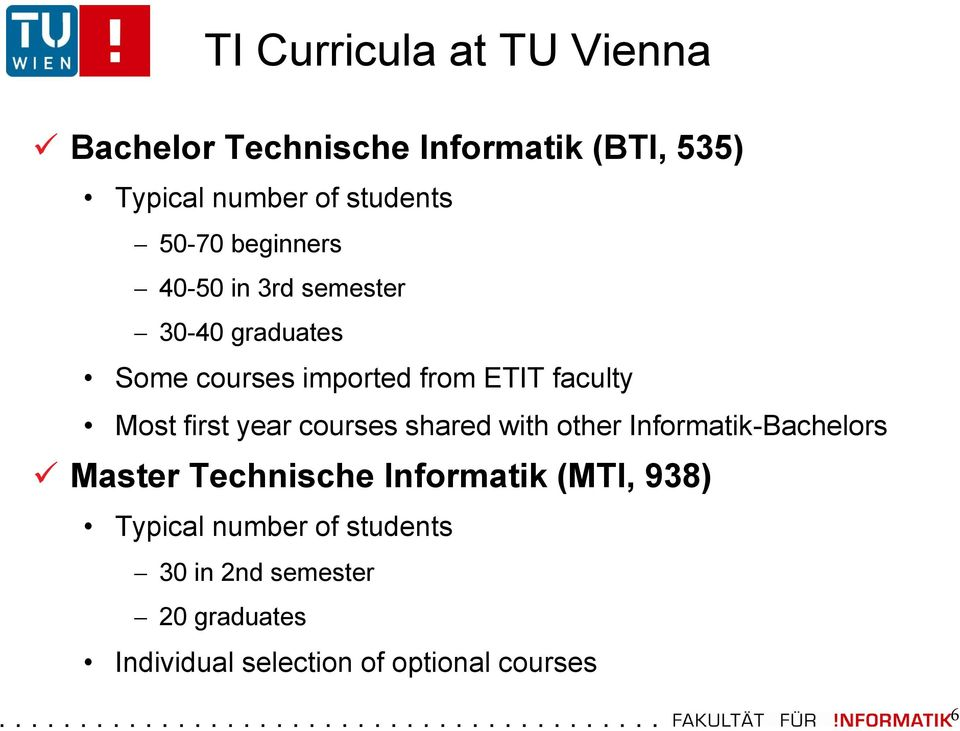 first year courses shared with other Informatik-Bachelors Master Technische Informatik (MTI, 938)