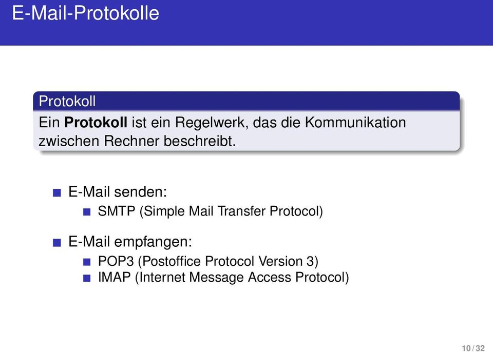 E-Mail senden: SMTP (Simple Mail Transfer Protocol) E-Mail