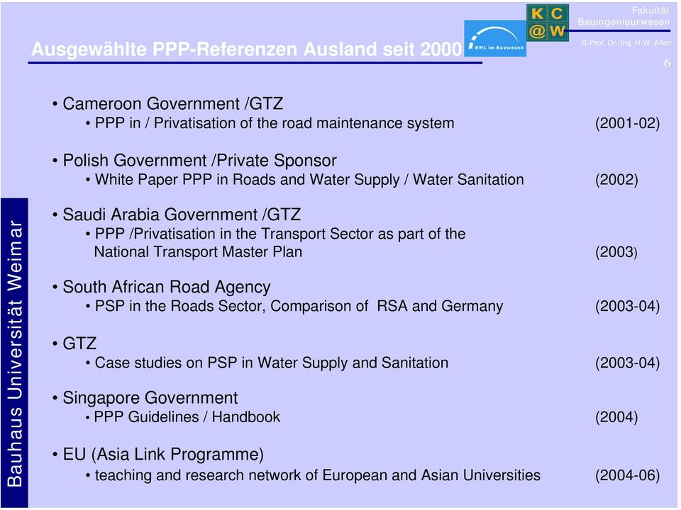National Transport Master Plan (2003) South African Road Agency PSP in the Roads Sector, Comparison of RSA and Germany (2003-04) GTZ Case studies on PSP in Water Supply