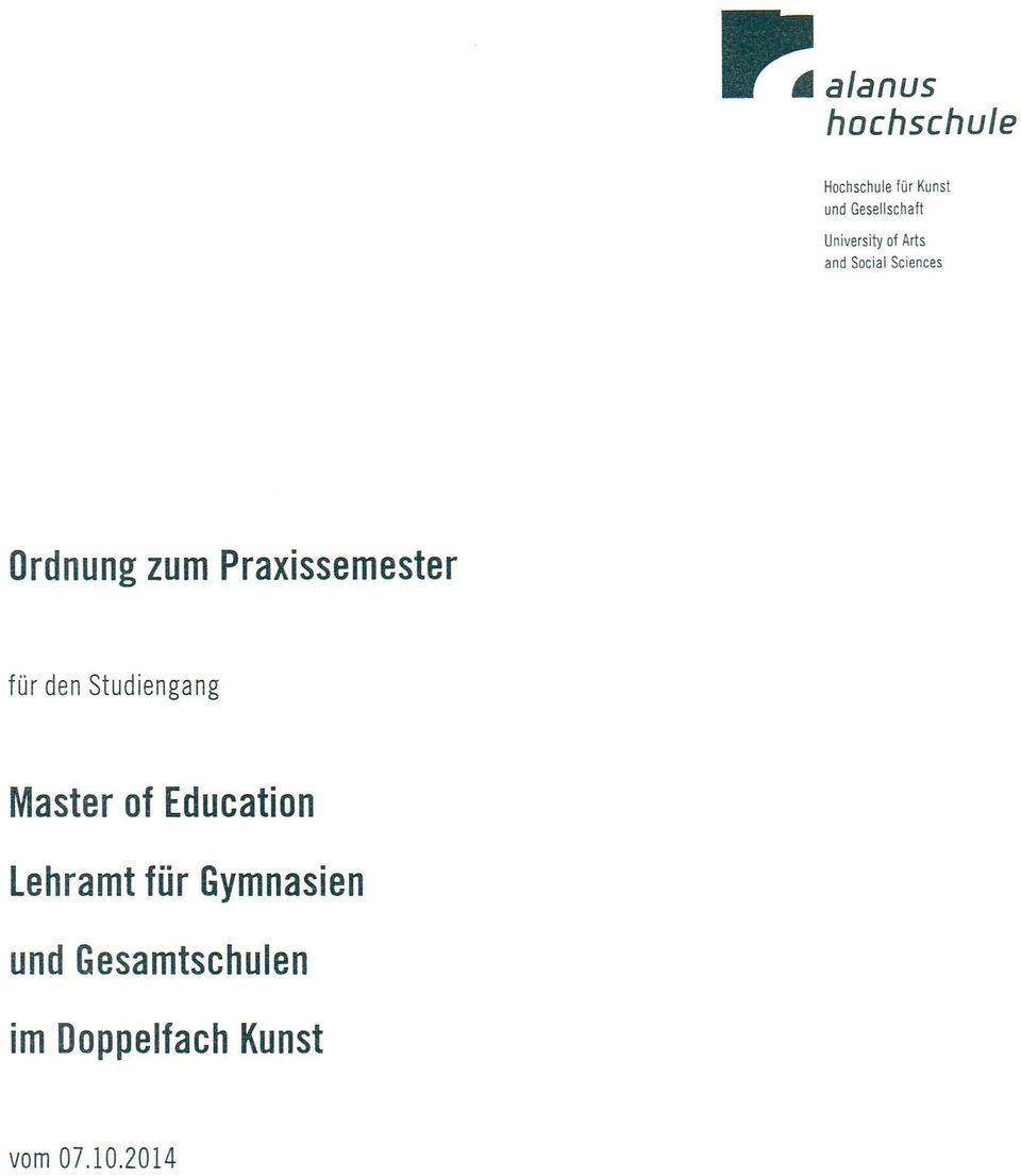 Praxissemester für den Studiengang Master of Education