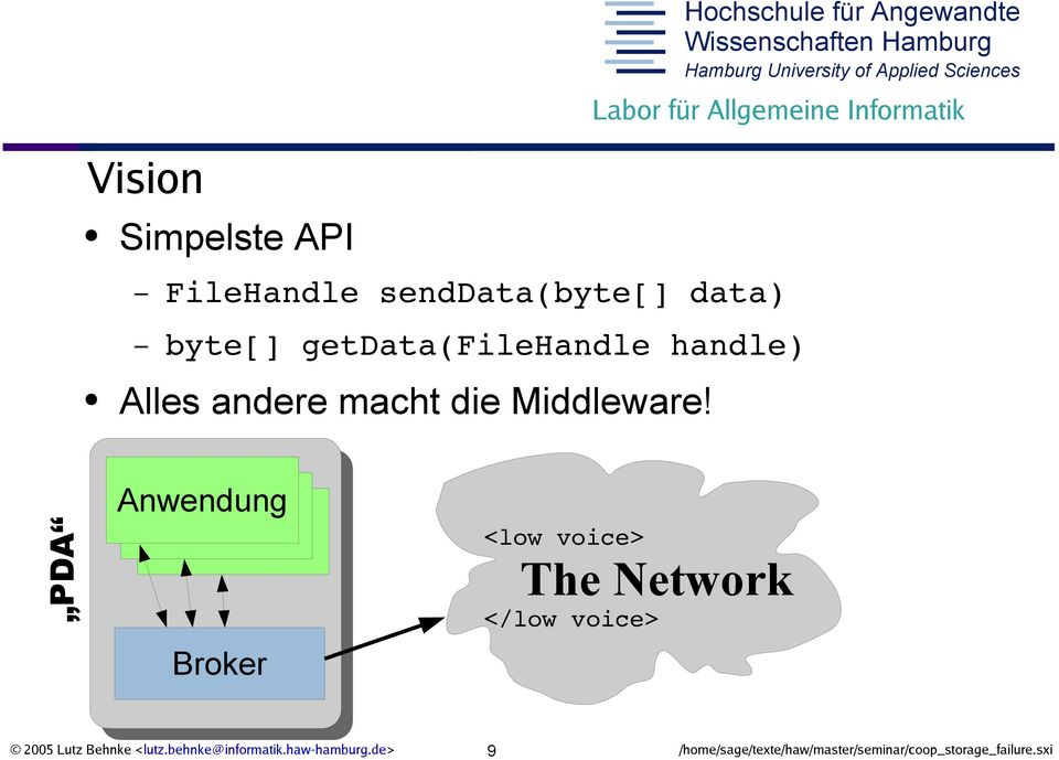 PDA Anwendung Broker <low voice> The Network </low voice> 2005 Lutz Behnke