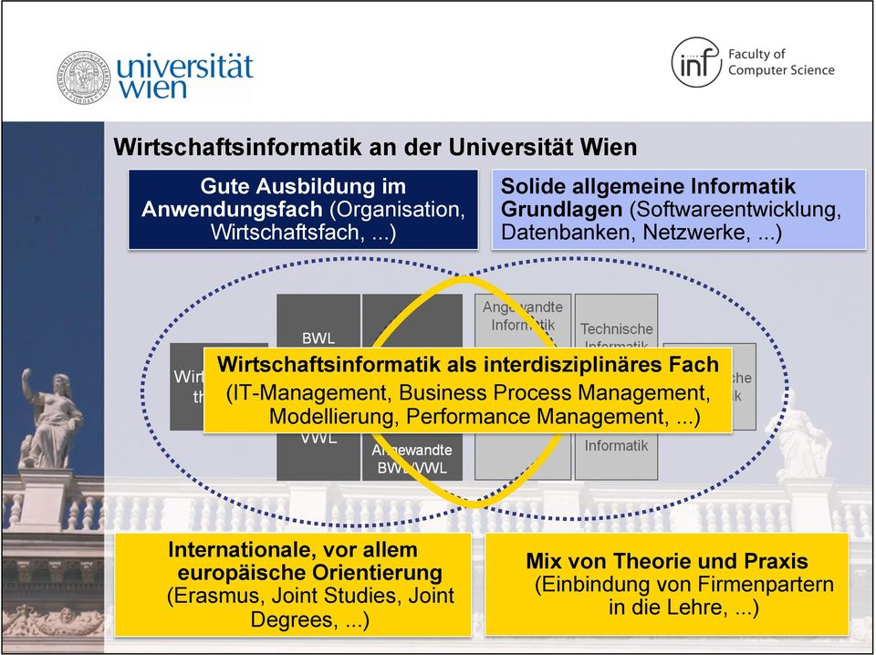 ..) Wirtschaftsinformatik als interdisziplinäres Fach (IT-Management, Business Process Management, Modellierung, Performance
