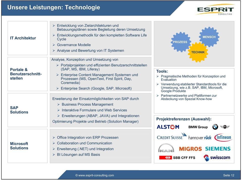 Benutzerschnittstellen (SAP, MS, IBM, Liferay) Enterprise Content Management Systemen und Prozessen (MS, OpenText, First Spirit, Day, Coremedia) Enterprise Search (Google, SAP, Microsoft) Erweiterung