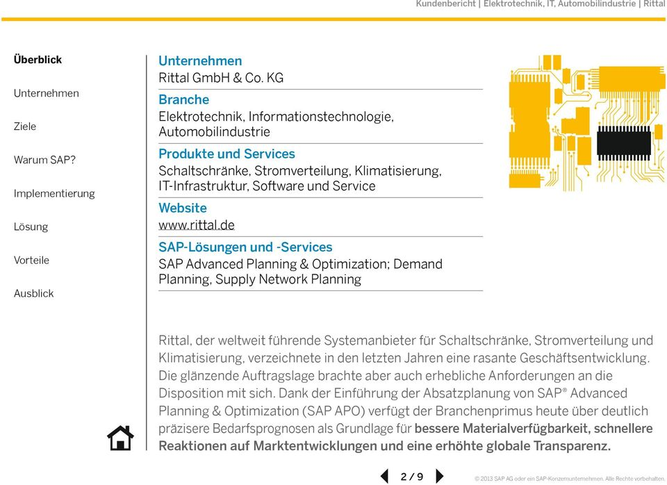 de SAP-en und -Services SAP Advanced Planning & Optimization; Demand Planning, Supply Network Planning Rittal, der weltweit führende Systemanbieter für Schaltschränke, Stromverteilung und