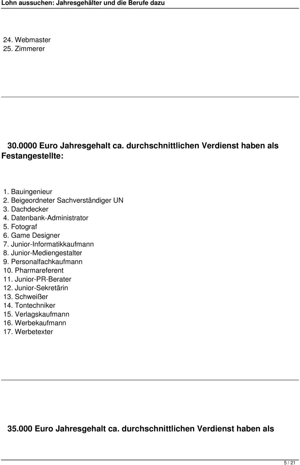 Junior-Informatikkaufmann 8. Junior-Mediengestalter 9. Personalfachkaufmann 10. Pharmareferent 11. Junior-PR-Berater 12.