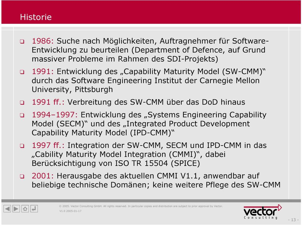 : Verbreitung des SW-CMM über das DoD hinaus 1994 1997: Entwicklung des Systems Engineering Capability Model (SECM) und des Integrated Product Development Capability Maturity Model (IPD-CMM) 1997