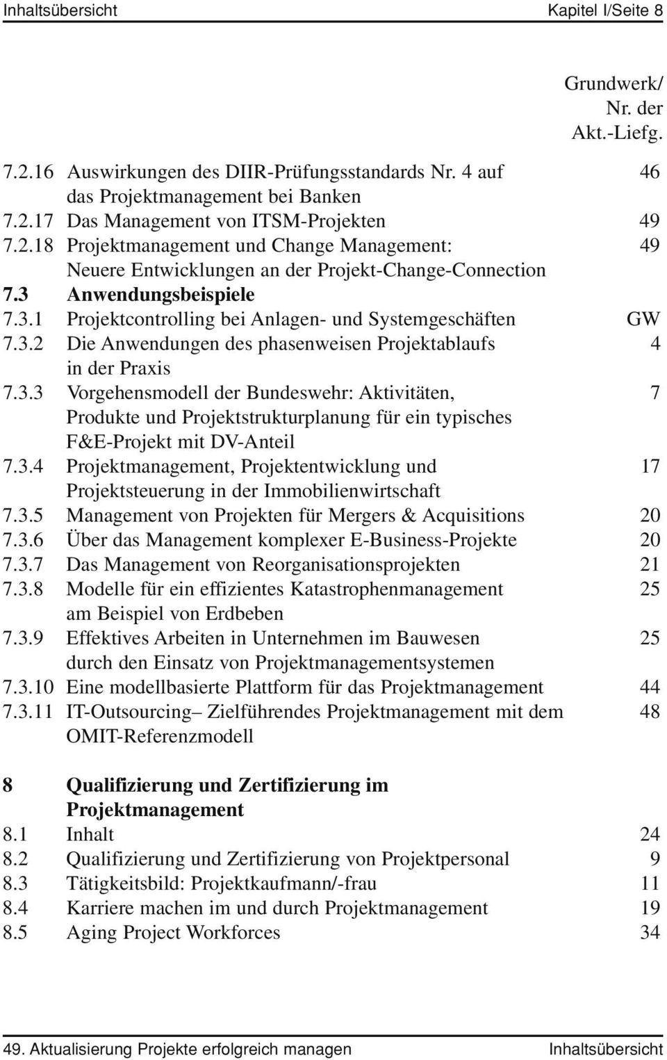 3.4, Projektentwicklung und 17 Projektsteuerung in der Immobilienwirtschaft 7.3.5 Management von Projekten für Mergers & Acquisitions 20 7.3.6 Über das Management komplexer E-Business-Projekte 20 7.3.7 Das Management von Reorganisationsprojekten 21 7.