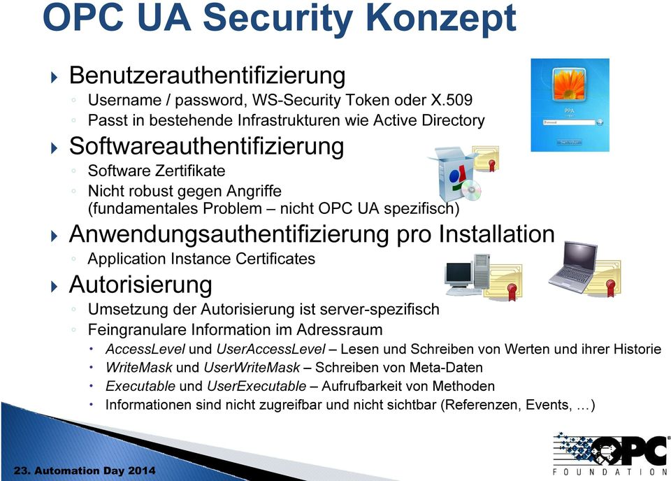 spezifisch) Anwendungsauthentifizierung pro Installation Application Instance Certificates Autorisierung Umsetzung der Autorisierung ist server-spezifisch Feingranulare Information