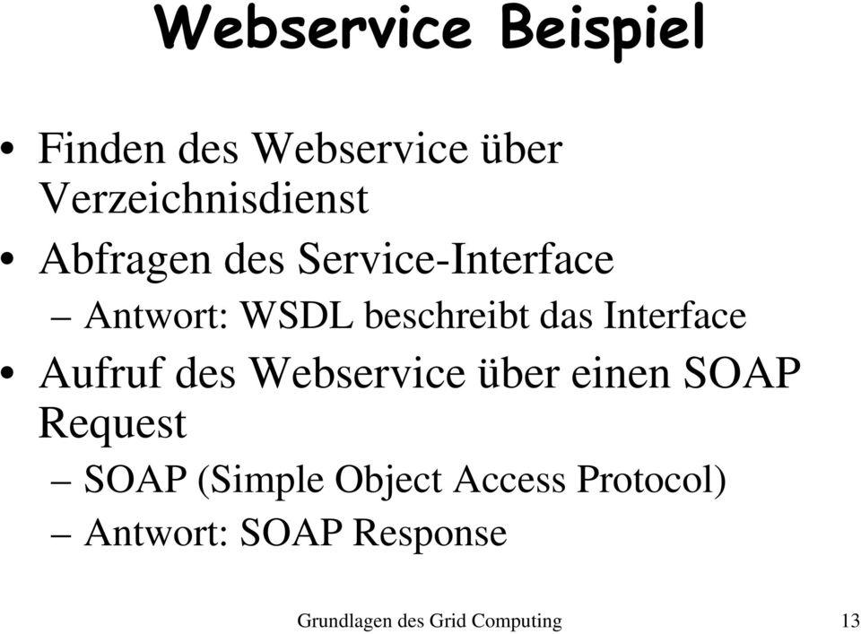 Interface Aufruf des Webservice über einen SOAP Request SOAP (Simple