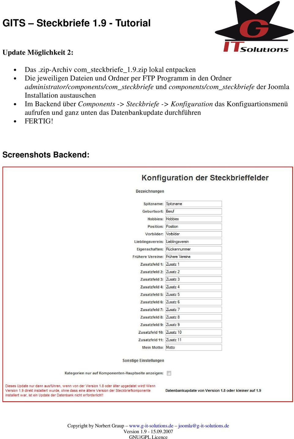 administrator/components/com_steckbriefe und components/com_steckbriefe der Joomla Installation