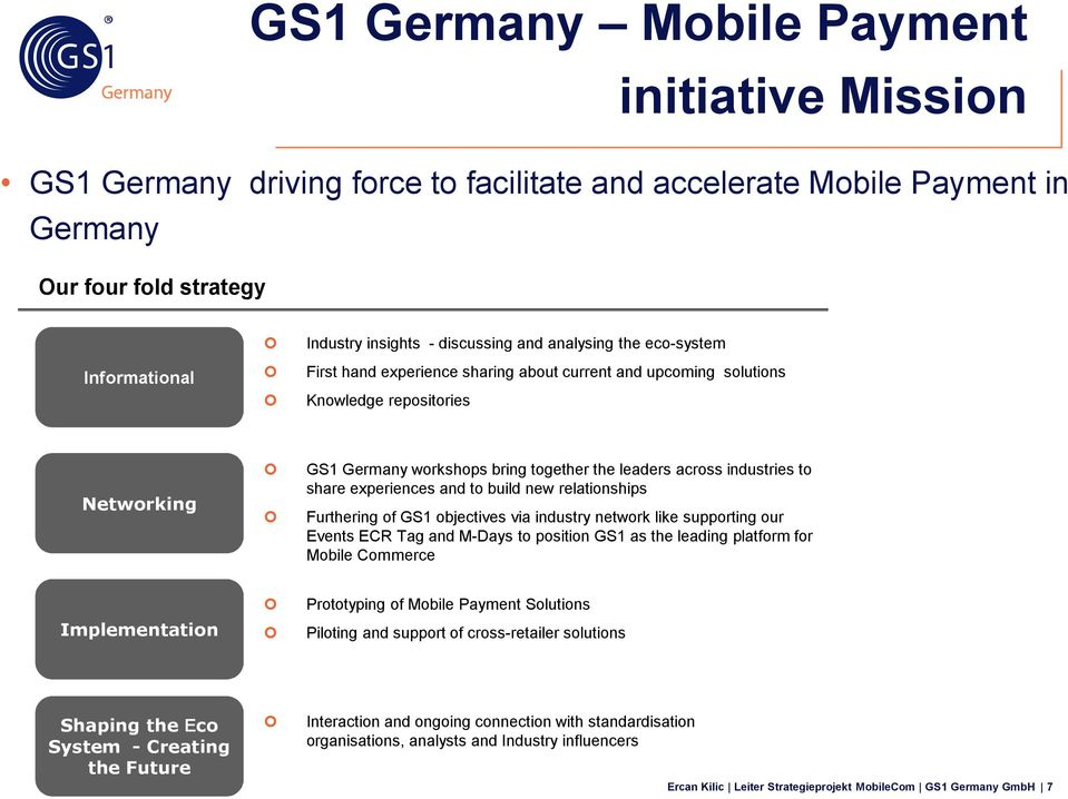 share experiences and to build new relationships Furthering of GS1 objectives via industry network like supporting our Events ECR Tag and M-Days to position GS1 as the leading platform for Mobile