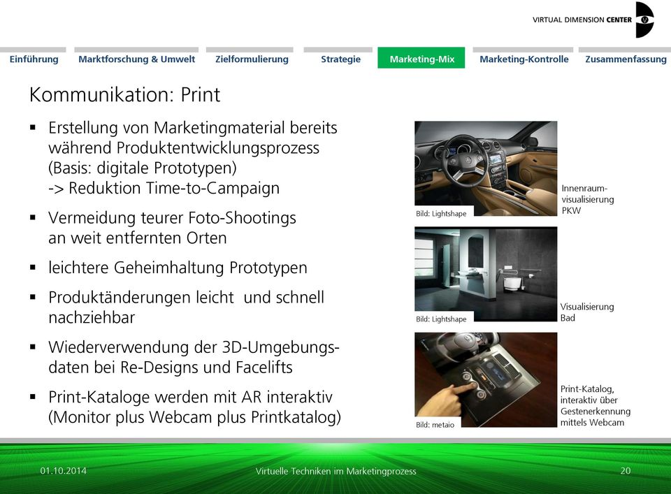 nachziehbar Wiederverwendung der 3D-Umgebungsdaten bei Re-Designs und Facelifts Print-Kataloge werden mit AR interaktiv (Monitor plus Webcam plus