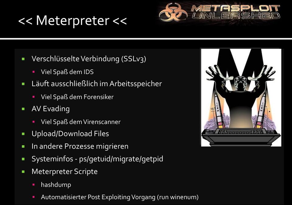 Virenscanner Upload/Download Files In andere Prozesse migrieren Systeminfos -