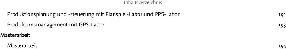 PPS-Labor 191 Produktionsmanagement mit