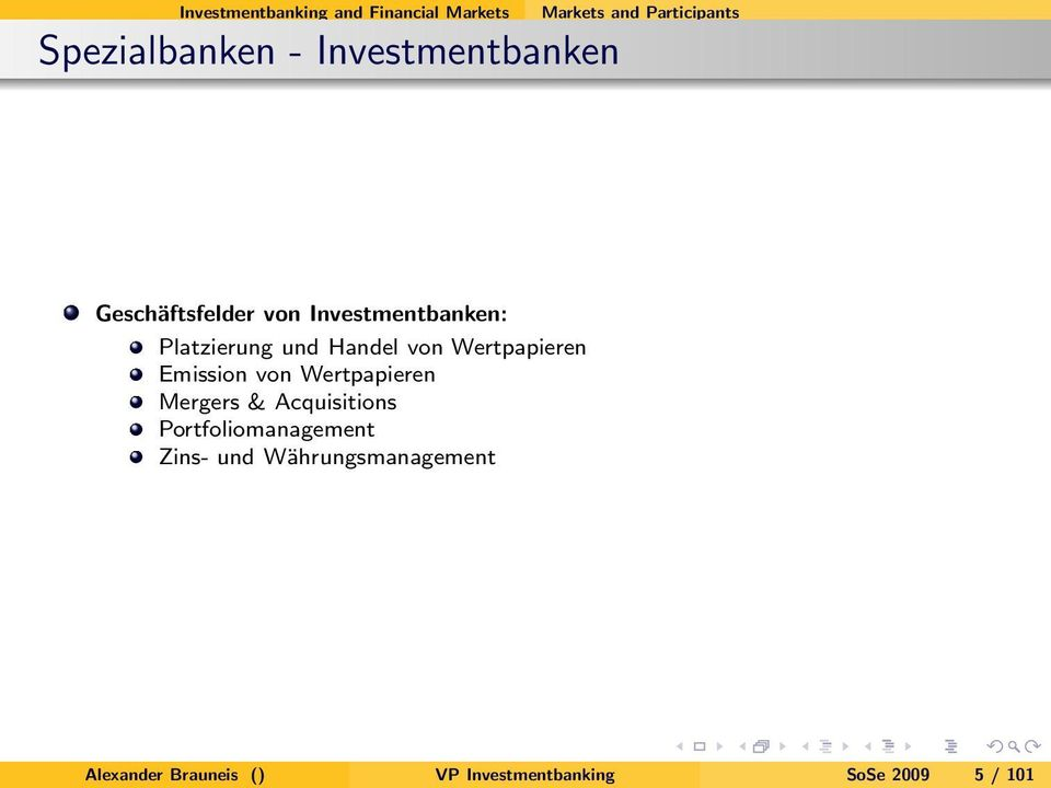Wertpapieren Emission von Wertpapieren Mergers & Acquisitions Portfoliomanagement