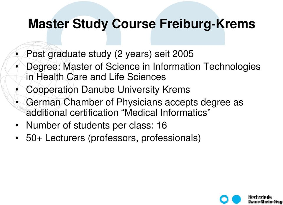 University Krems German Chamber of Physicians accepts degree as additional certification