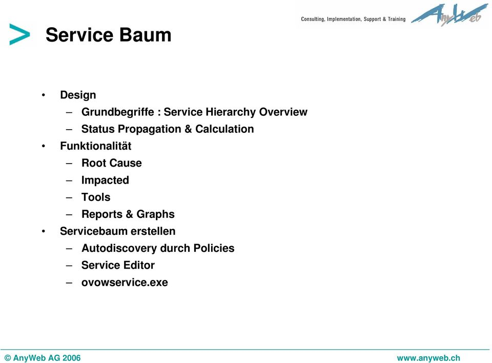 Root Cause Impacted Tools Reports & Graphs Servicebaum