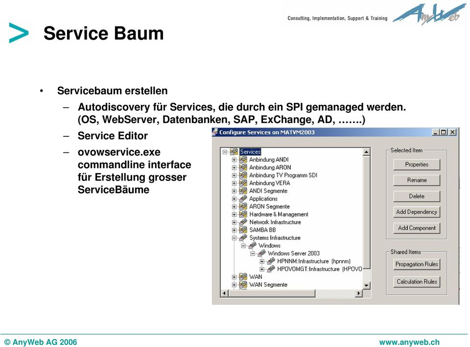 (OS, WebServer, Datenbanken, SAP, ExChange, AD,.