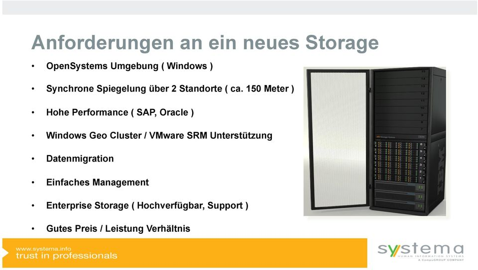 150 Meter ) Hohe Performance ( SAP, Oracle ) Windows Geo Cluster / VMware SRM