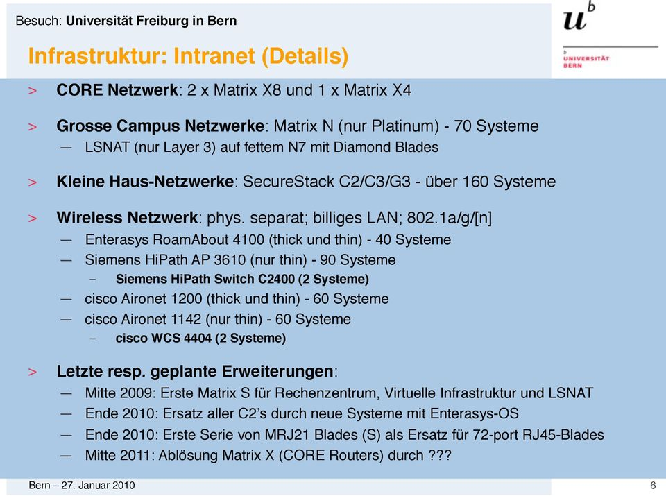 1a/g/[n] Enterasys RoamAbout 4100 (thick und thin) - 40 Systeme Siemens HiPath AP 3610 (nur thin) - 90 Systeme Siemens HiPath Switch C2400 (2 Systeme) cisco Aironet 1200 (thick und thin) - 60 Systeme
