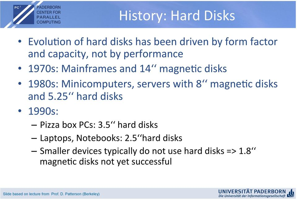magne?c disks 1980s: Minicomputers, servers with 8 magne?c disks and 5.25 hard disks 1990s: Pizza box PCs: 3.