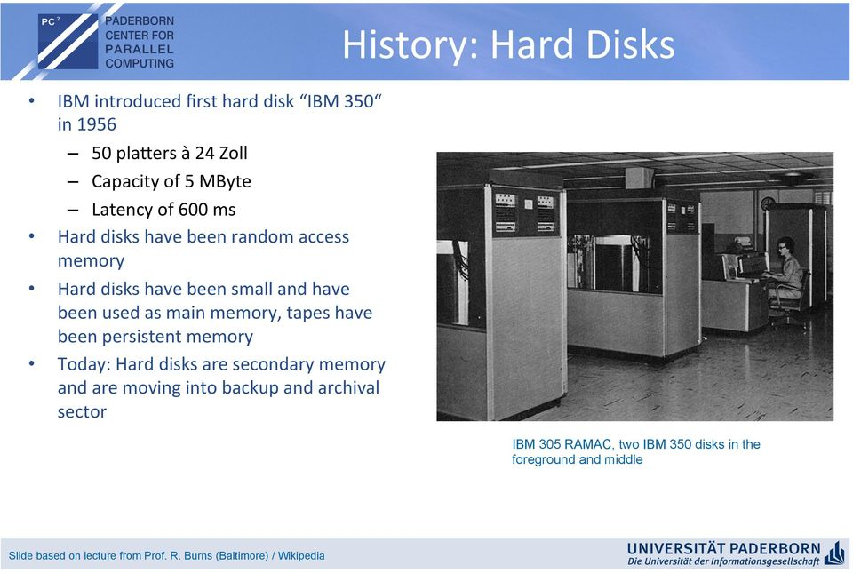 have been persistent memory Today: Hard disks are secondary memory and are moving into backup and archival sector IBM