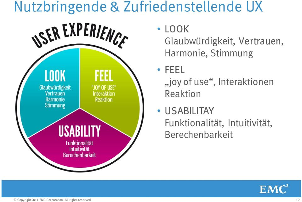 FEEL joy of use, Interaktionen Reaktion