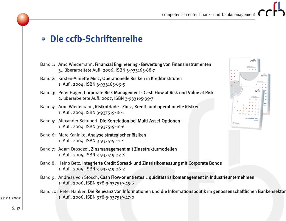 2004, ISBN 3-933165-69-5 Band 3: Peter Hager, Corporate Risk Management - Cash Flow at Risk und Value at Risk 2. überarbeitete Aufl.